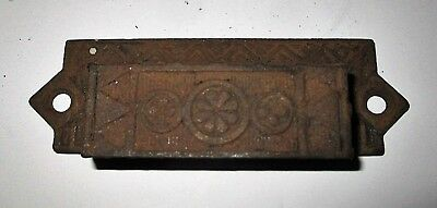 Antique Eastlake Cast Iron Drawer Pull Bin Pull Art Deco Geometric Floral 4""