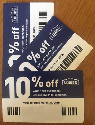 3 New Lowes 10% off Blue Discount Card DEC 12/31/18 Use at Lowes or Home Depot