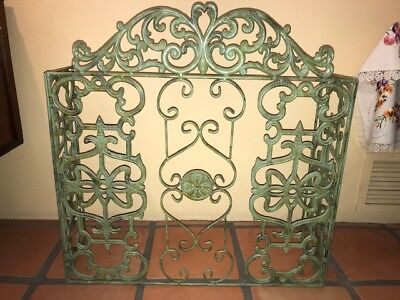 Vintage Cast Iron French Country Cottage Green HEAVY Fireplace Screen