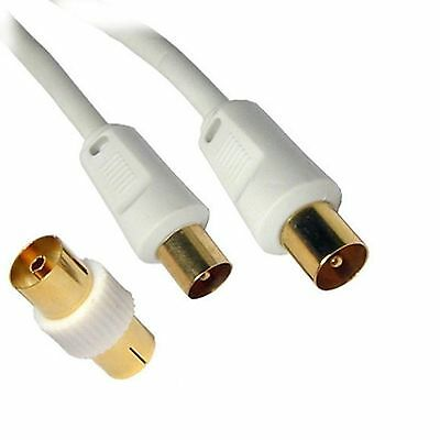 White Coaxial Coax Plug HDTV Tele Aerial Extension Cable Lead Wire with Adapter