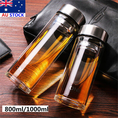 800/1000ML Large Glass Water Bottle Double Walled Travel Mug with Tea Infuser