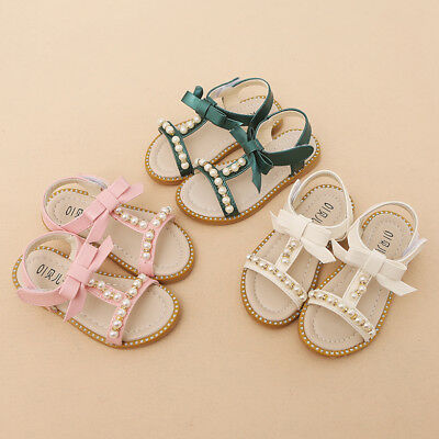 Toddler Kids Girl Princess Sandals Pearl Bow Soft Sole Beach Shoes PU Leather AU