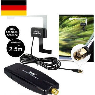 DAB+ Box USB Stick Receiver Antennen Adapter For Android / DAB Autoradio Schwarz