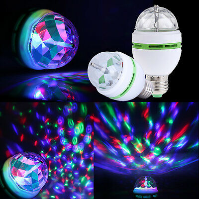 RGB LED Crystal Ball Rotating Stage Light Bulbs E27 3W Disco Party Xmas Lamp New