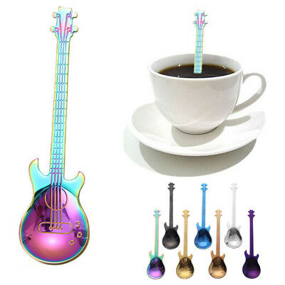 Stainless Steel Guitar Shaped Spoons Rainbow Coffee Tea Drinking Spoon Flatware