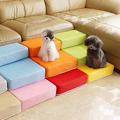 Portable 2-Steps Puppy Dog Cat Pet Stairs Ramp Ladder Sponge Cover Sofa Bed Blin