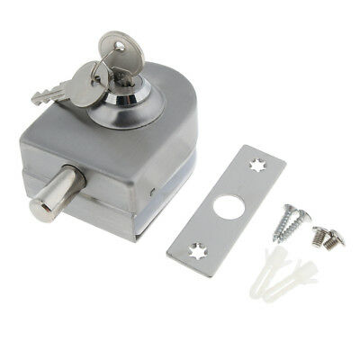 Stainless Steel Door Locking System w/ 2Pcs Key for Toughened/Tempered Glass