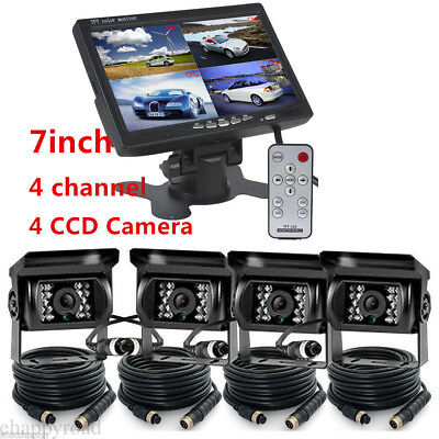 """4 CH 7"""" Monitor Truck Tractor Reversing Security SYSTEM 4x Rear View Camera Kit"""