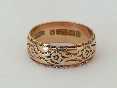 Antique Victorian Rose 9ct Gold Ornate Carved Flower Wedding Band Ring Size O