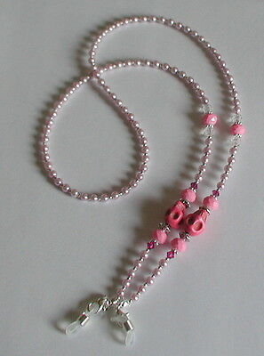 Glasses Chain Pink Glass Pearl Beads Skull Glasses Chain Spectacles Holder