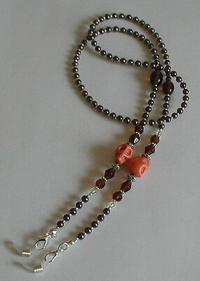 Glasses Chain Spectacles Holder Brown Glass Pearl Beads Orange Skull