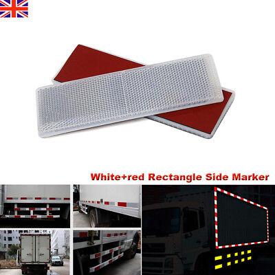 White+red E-Approved Rectangular Reflectors for Trailer Caravan Gateposts 1 Set
