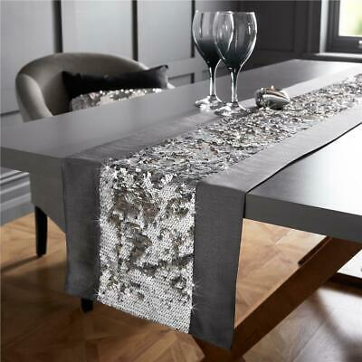 "Mermaid Sequin Sparkle Table Runner Silver / Grey or Black 72"" or Long 90"""