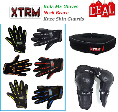 Kids Motocross Kit Mx Gloves Neck Brace Collar Roll Protective Knee Shin Guards