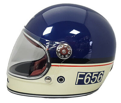 Viper F656 Retro Vintage Retro Fibreglass Full Face Motorcycle Helmet Blue