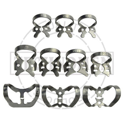 Orthodontic Dental Restoration Restorative Set Of 10 Rubber Dam Clamps Colliers