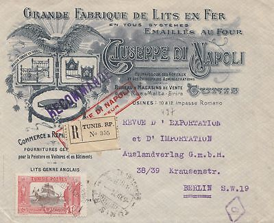 French colonies: Tunisie: Registered Tunis 1921 to Berlin