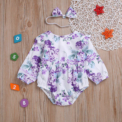 Newborn Infant Baby Girl Romper Bodysuit Jumpsuit Headband Clothes 2pcs Outfits