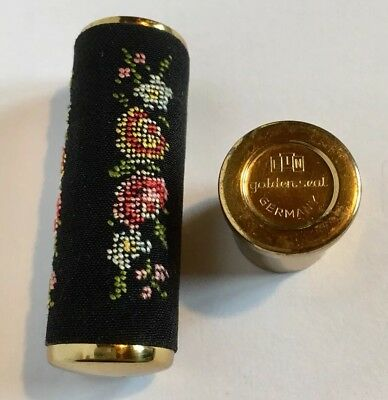 Vintage Lippenstift Hülse Etui mit Gobelinstickerei EIN Golden Seal West Germany