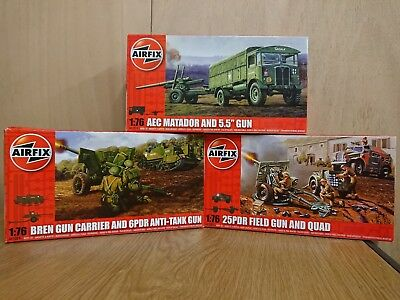 AIRFIX Joblot of 3 Boxed Military Kits AO1309 AO1305 AO1314 1/76 Scale models