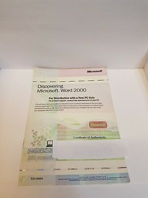 Original Microsoft Word 2000 Licence User Guide
