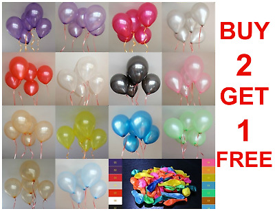 "10 Large Latex Pearlised Birthday Wedding Party Baloons Ballons Balloons 12""inch"