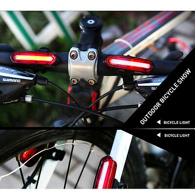 Bike Bicycle LED Rear Tail Lights USB Rechargeable Cycling Safety Warning Lamp