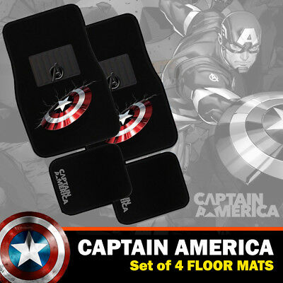 Marvel Avengers Captain America Car Floor Mats Set of 4 Carpet in Black EXPRESS