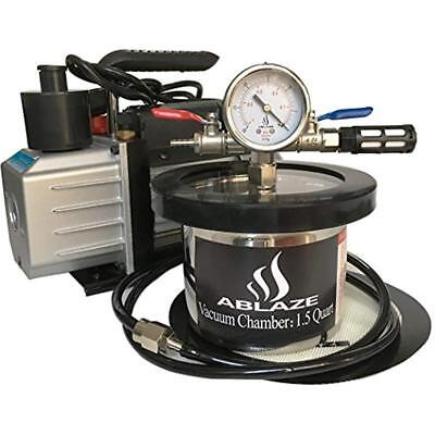 1.5 Vacuum Chambers Quart Stainless Steel Degassing And 3 CFM Single Stage Pump