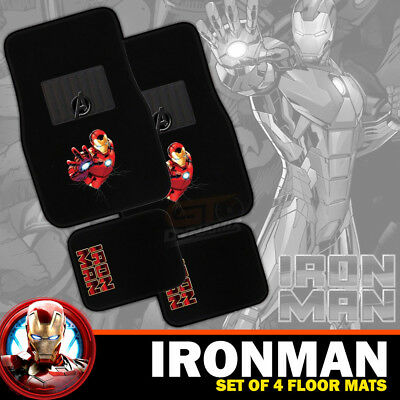 Marvel Avengers IRON MAN Car Floor Mats Set of 4 Carpet in Black EXPRESS