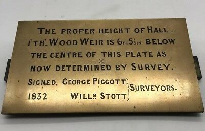 Hall i'th Wood Weir Museum Bolton 1832 Brass Height Plaque MUST SEE!!