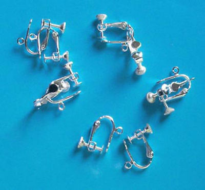 5 pairs of silver plated screw/clip-on earrings, findings for jewellery making