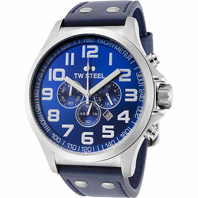 TW Steel TW403 Men's Pilot Chronograph 48mm Stainless Steel Blue Dial Watch