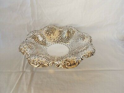 English Sterling Silver Open Work Fruit Corbeille Pierced Compote Bowl Sheffield