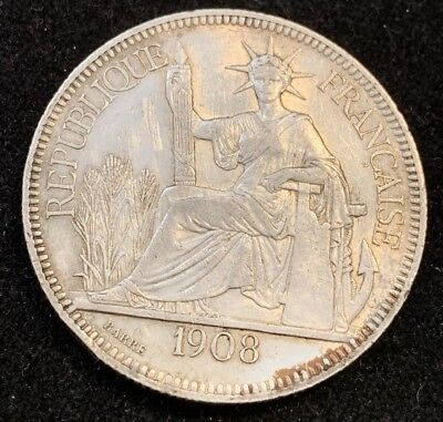 1908 A 1 Piastre French Indio-China Silver Coin (AU)