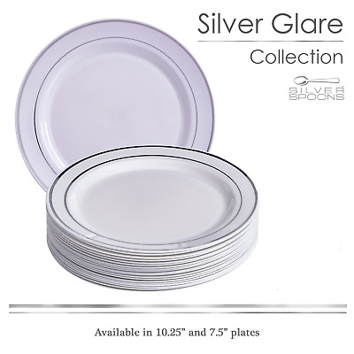 20 Pc Disposable Plate Set for Weddings and Parties (Glare-White/Silver)
