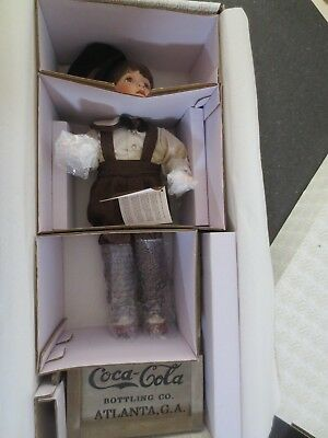 Franklin Mint Coca Cola Danny/Scooter New Factory Sealed  Bisque Porcelain 19""