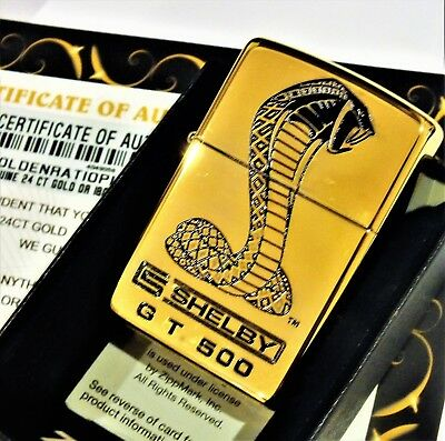 24ct Gold Plated Zippo Windproof Refillable Lighter Shelby GT 500 Ford Boxed 24k