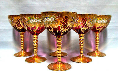 """Czech Bohemian Moser Glass Set of 6 Cranberry Wine Glasses Gold Plated 6"""""""