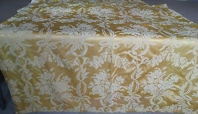 Antique French Pair Of Yellow Old Silk Damask 19th century Curtain Drape