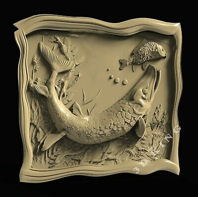 3D STL Models # PIKE & FISH # for CNC Aspire Artcam 3D Printer 3D MAX Rhino