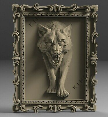 STL 3D Models # THE WOLF IN FRAME # for CNC Aspire Artcam 3D Printer 3D MAX