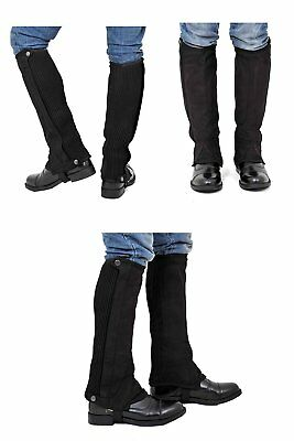 "Riders Trend Kid's Amara Plain Suede Half Chaps Black CXL Youth XL 13"" Tall New"