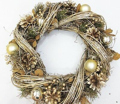 Luxury Quality Christmas Door Wreath Large 35cm Gold apple Green Wreath 9817