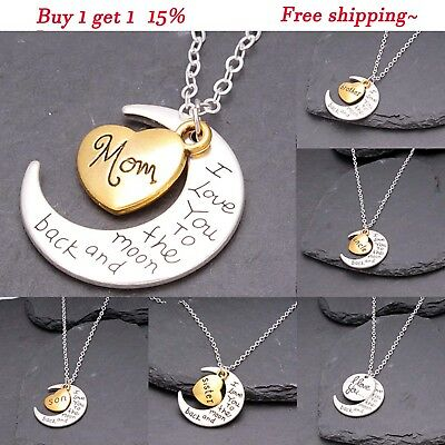Silver Family Pendant I Back Moon & You Love To The For Heart Women Necklace Men