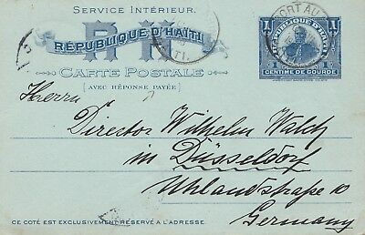 Haiti: 1903: answer card Port au Prince to Düsseldof