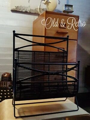 Wrought Iron And Rattan / Wicker Magazine Rack