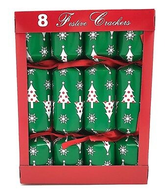 Holiday Christmas Party Crackers: Colorful Green Trees and Snowflakes