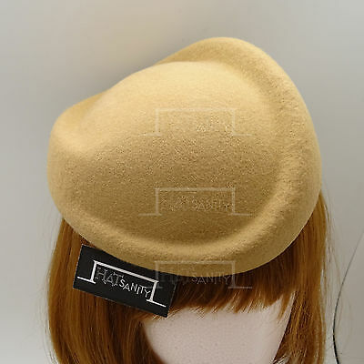 VINTAGE Wool Felt Women Pillbox Hat Ladies Fascinator | Twist | Beige Grey Brown