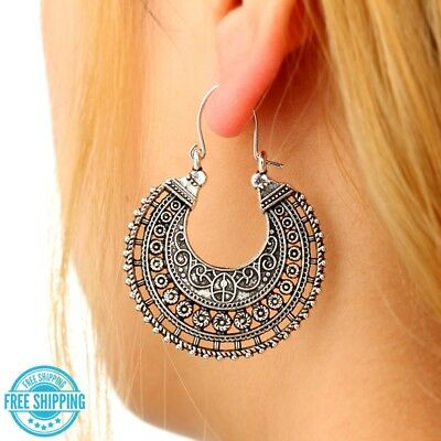 Antique Silver Plated Tribal Ethnic Boho Ornate Large Hoops Crescent Earrings